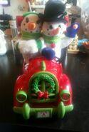 Rare one Mr &Ms Snowman Musical Speedster Car headlights light up large Gemmy