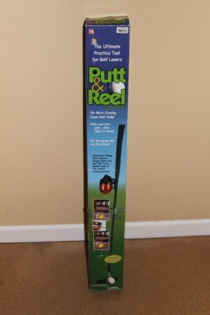 PUTT AND REEL PRACTICE PUTTER - GOLF CLUB AND FISHING REEL