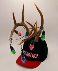 Baseball Cap with Lighted Antlers Snapback Flashing Christmas Lights Gemmy 2001