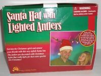 Gemmy SANTA CLAUS HAT with LIGHTED ANTLERS Funny for Christmas 2001 in Box