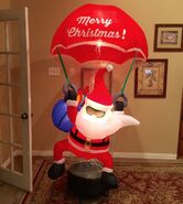 Gemmy Prototype Christmas Santa with Parachute Inflatable Airblown