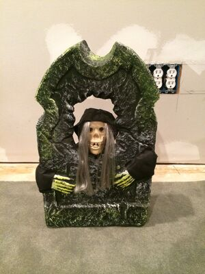 Gemmy Tombstone Vintage Halloween Animated Prop Music Witch Battery Op