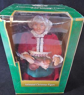 1995 gemmy north pole productions animated mrs santa claus petting her dog figure 8