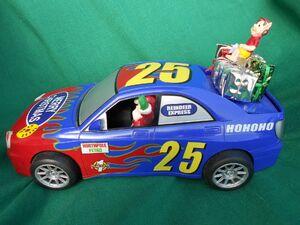 RACE CAR SANTA- Vintage animated battery operated singing & waving,Christmas
