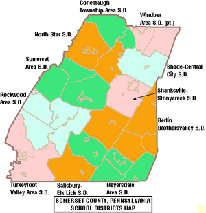 Map of Somerset County Pennsylvania School Districts