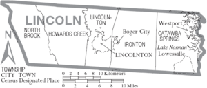 Map of Lincoln County North Carolina With Municipal and Township Labels