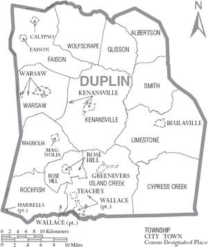 Map of Duplin County North Carolina With Municipal and Township Labels