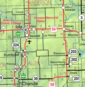 Map of Allen Co, Ks, USA