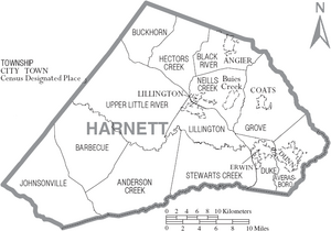 Map of Harnett County North Carolina With Municipal and Township Labels