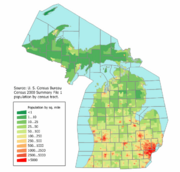 Michigan population map