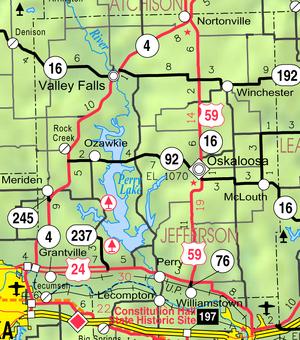 Map of Jefferson Co, Ks, USA