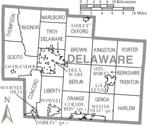 Map of Delaware County Ohio With Municipal and Township Labels
