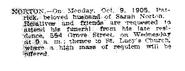 Norton-Patrick 1905 funeral notice