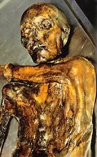 The Iceman from the chest up lying on stainless steel table, with his left arm across his body just between the top of his right shoulder and under his chin