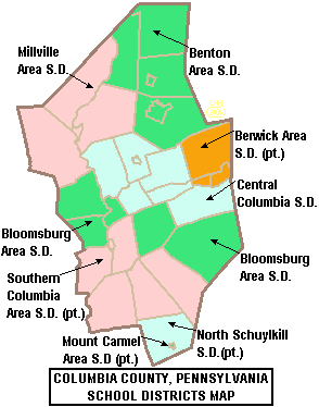 Map of Columbia County Pennsylvania School Districts