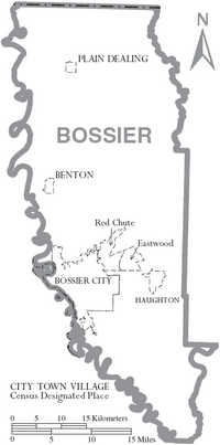 Map of Bossier Parish Louisiana With Municipal Labels