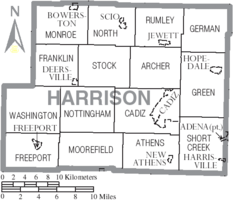 Map of Harrison County Ohio With Municipal and Township Labels.PNG