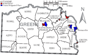 Map of Greene County Pennsylvania With Municipal and Township Labels