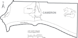 Map of Cameron Parish Louisiana With Municipal Labels
