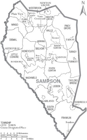 Map of Sampson County North Carolina With Municipal and Township Labels