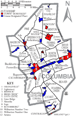 Map of Columbia County Pennsylvania With Municipal and Township Labels