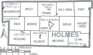 Map of Holmes County Ohio With Municipal and Township Labels