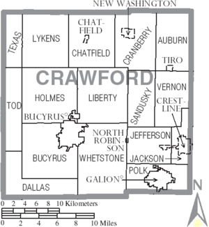 Map of Crawford County Ohio With Municipal and Township Labels