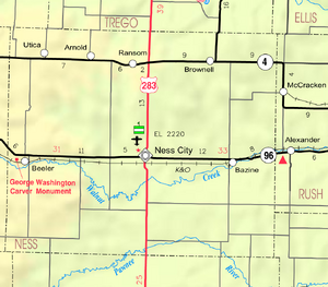 Map of Ness Co, Ks, USA