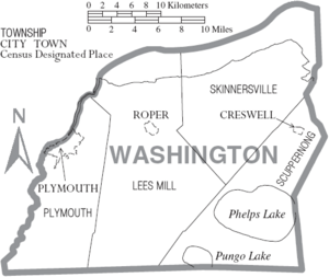 Map of Washington County North Carolina With Municipal and Township Labels