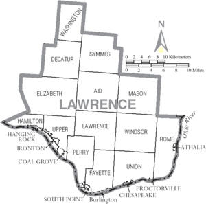 Map of Lawrence County Ohio With Municipal and Township Labels
