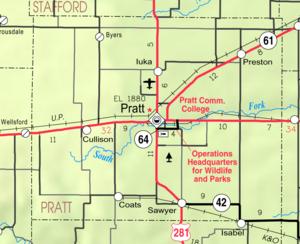 Map of Pratt Co, Ks, USA