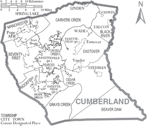 Map of Cumberland County North Carolina With Municipal and Township Labels