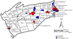 Map of Cumberland County Pennsylvania With Municipal and Township Labels