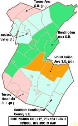 Map of Huntingdon County Pennsylvania School Districts