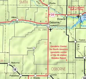 Map of Osborne Co, Ks, USA