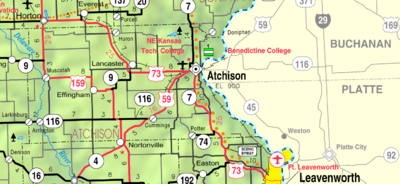 Map of Atchison Co, Ks, USA