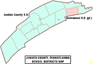 Map of Juniata County Pennsylvania School Districts