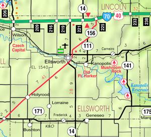 Map of Ellsworth Co, Ks, USA