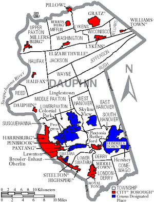 Map of Dauphin County Pennsylvania With Municipal and Township Labels