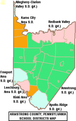 Map of Armstrong County Pennsylvania School Districts