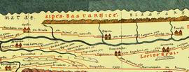 Part of Tabula Peutingeriana centered around present day Transylvania