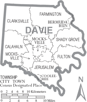 Map of Davie County North Carolina With Municipal and Township Labels