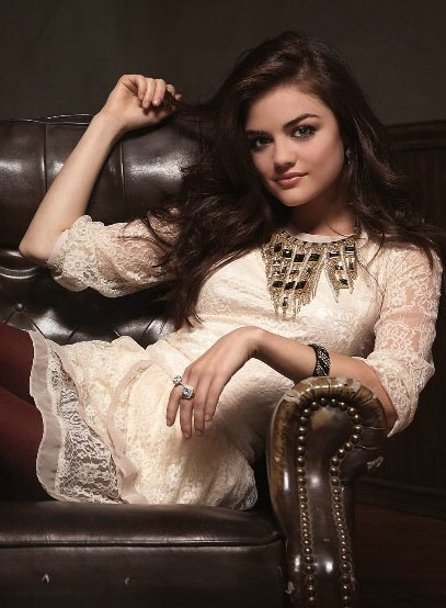 Lucy Hale stars on Pretty Little Liars. The actress poses here as part of a spread in Savvy magazine.
