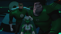 Hal, Kilowog and Aya watch Shard