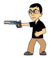 Edmund GoAnimate sideway shoot with gun