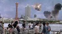 SpaceGodzilla attacking Kobe