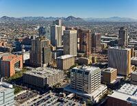 Downtown Phoenix Aerial Looking Northeast