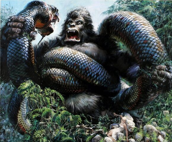 File:King Kong 1976 Kong vs. Giant Boa Production Art.jpg