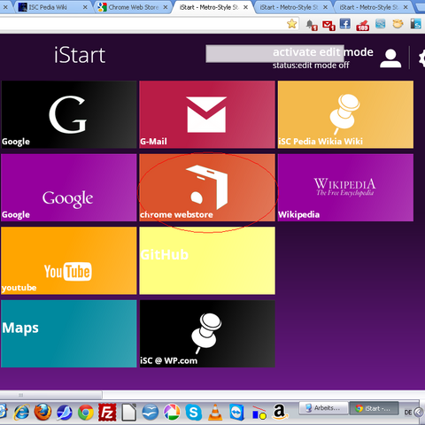 The middle box is the link to <b>Google Web Store</b> (This design is iStart for <a href=