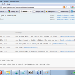 File view of an Google App Engine application, containing 1 handler script, 1 library, 1 file used by the appcfg tool and 1 static file, along with a README.